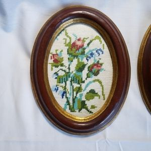 Vintage Wall Art - Two Framed Vintage Needlepoint Floral Wall Art NYC